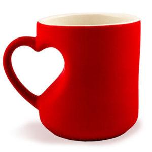 Термокружка (Хамелеон) красная с корпусом в виде сердца