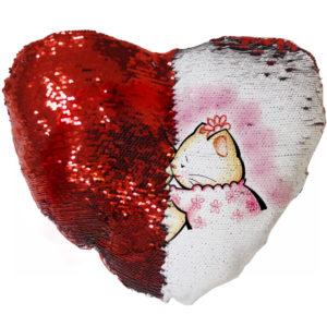 "Подушка с пайетками ""Сердце"" (Хамелеон) красная"